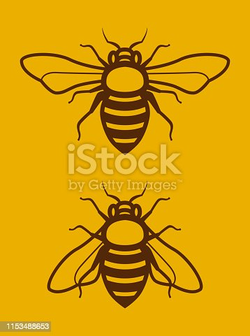 Vector Illustration of Two Beautiful Simple Honey Bee Clip Art or Logo