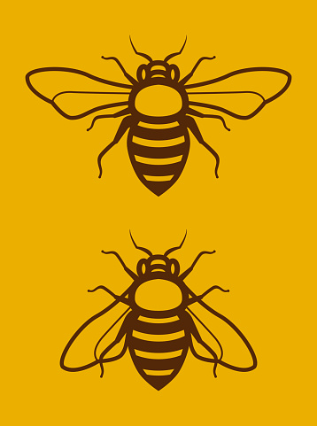 Two Simple Honey Bee Clip Art
