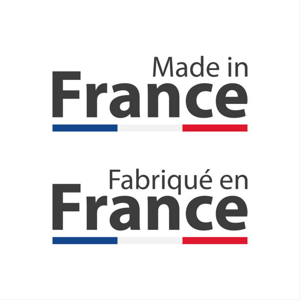 two simple vector symbols made in france, in the french language – fabrique en france, signs with the french tricolor isolated on white background - wykonać stock illustrations