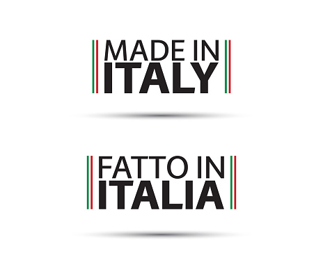 Two simple vector symbols Made in Italy. In the Italian language Fatto in Italia. Simple vector symbol with Italian tricolor isolated on white background