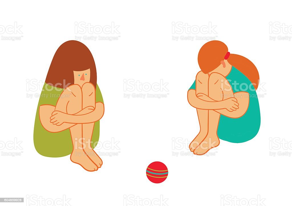 Two sitting sad girl and the ball