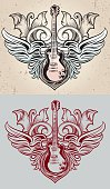 rock-styled emblem, vector artwork - layered & flat versions