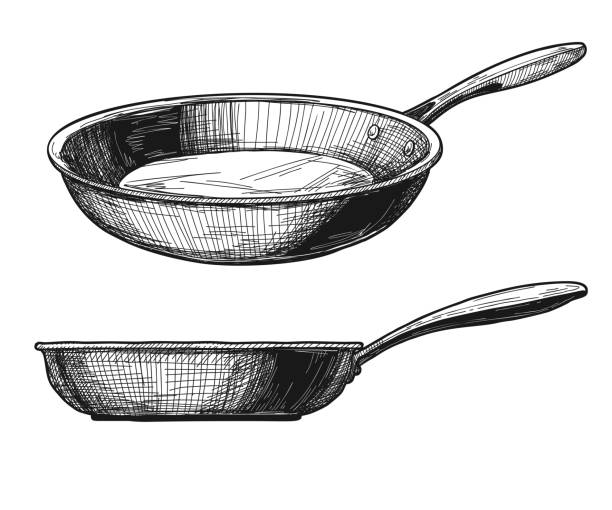 Two skillets isolated on white background. Vector illustration Two skillets isolated on white background. Vector illustration frying pan stock illustrations