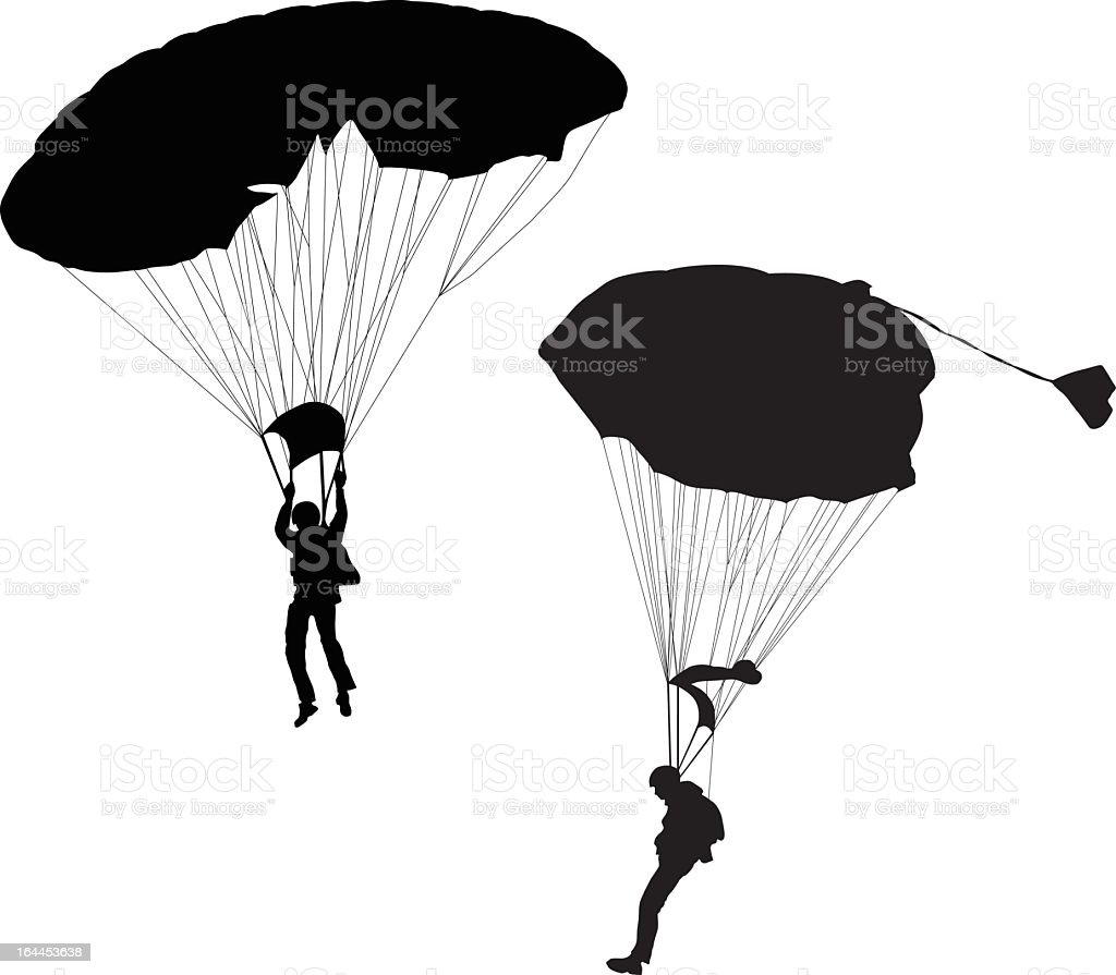 Two skydivers illustrated with black royalty-free stock vector art