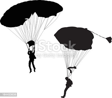Two skydivers illustrated with black