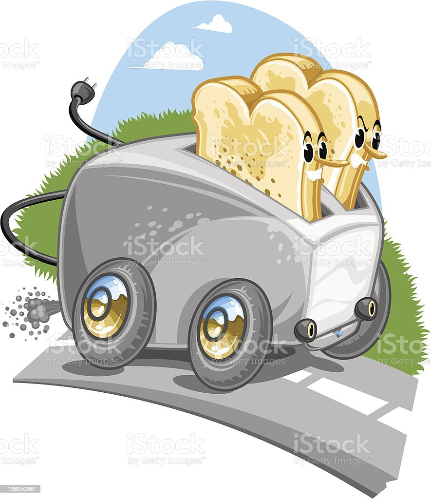 Two slices of toast riding in a toaster (vector) vector art illustration
