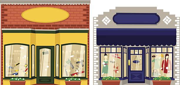 zwei kleine boutiquen - straßenschilder stock-grafiken, -clipart, -cartoons und -symbole