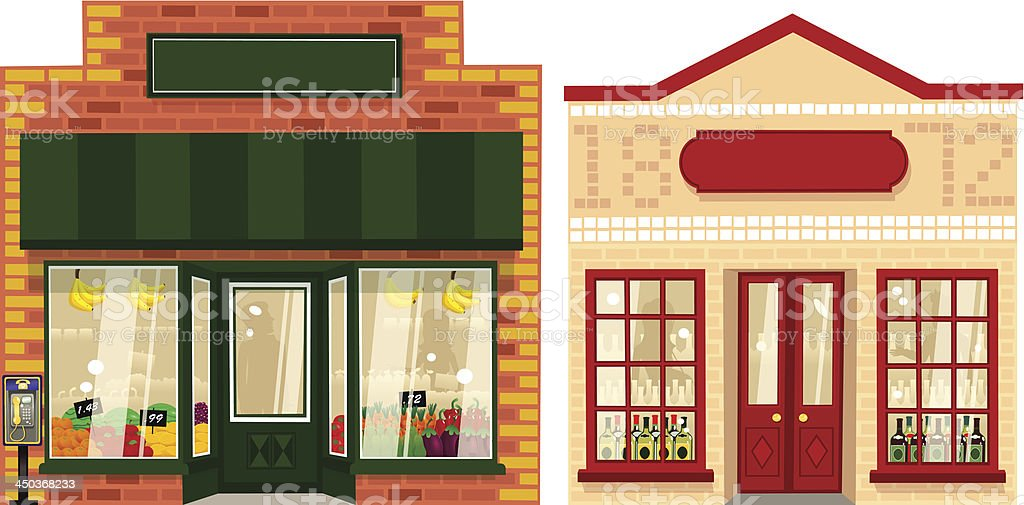 Two small stores vector art illustration