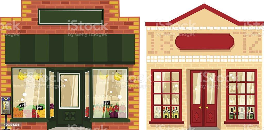 Zwei kleine Läden – Vektorgrafik
