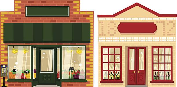 zwei kleine läden - straßenschilder stock-grafiken, -clipart, -cartoons und -symbole