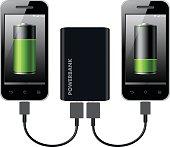 istock Two Smart Phones Charging using Power Bank 523616360