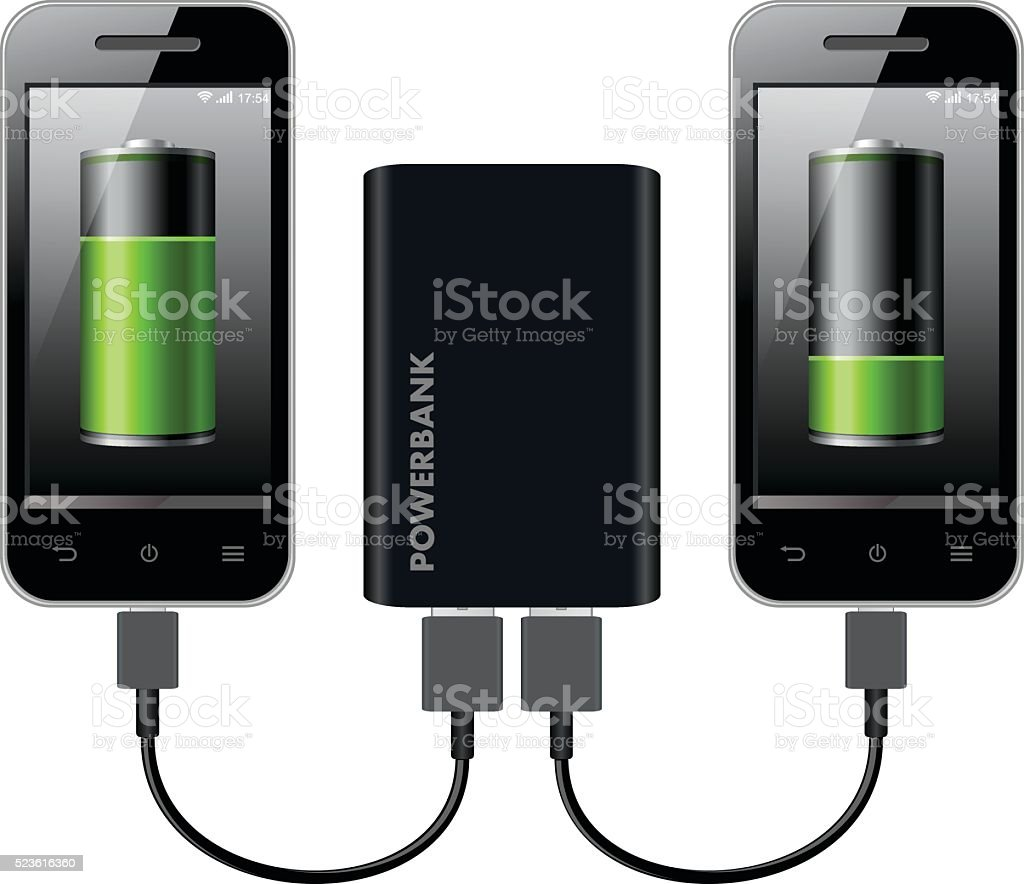 Two Smart Phones Charging using Power Bank vector art illustration