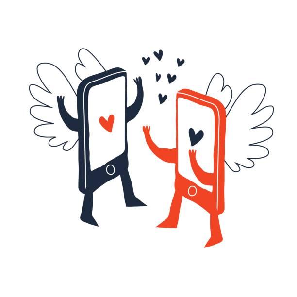 zwei Smartphones in der Liebe – Vektorgrafik