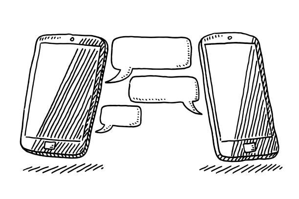 Two Smart Phones Internet Chat Technology Drawing vector art illustration