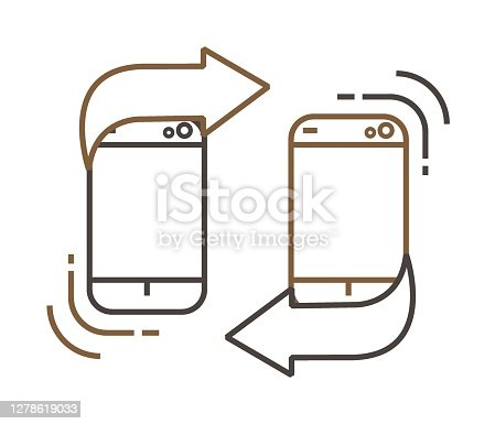 Two smartphones with blank white screen