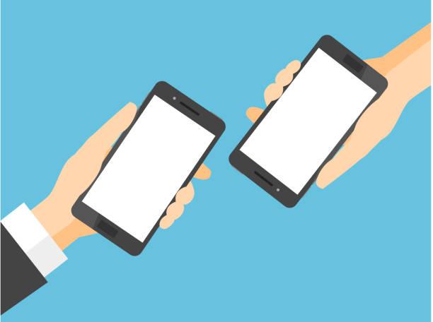 빈 흰색 화면 두 스마트폰 - hand holding phone stock illustrations