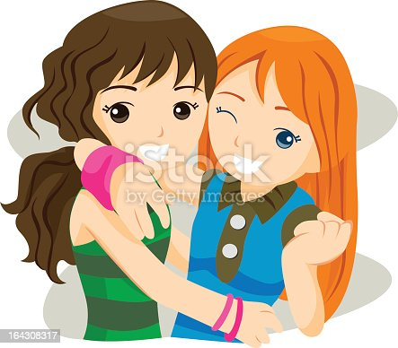 istock Two smiling best friends sharing a hug 164308317