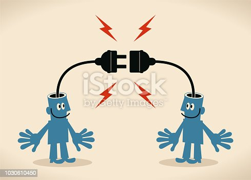 Blue Little Guy Characters Full Length Vector art illustration.Copy Space. Two smiling blue men with electrical plug and socket plugging in each other.