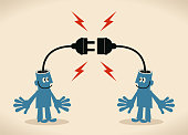 Blue Little Guy Characters Full Length Vector art illustration.Copy Space.\nTwo smiling blue men with electrical plug and socket plugging in each other.