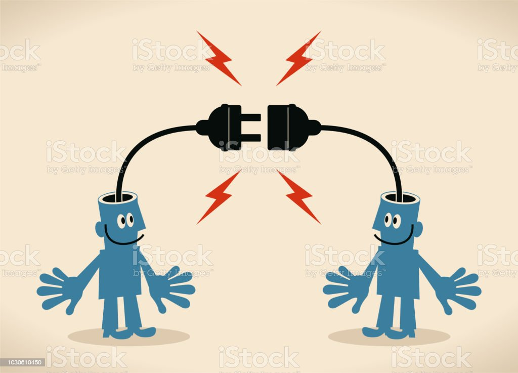 Two smiling blue men with electrical plug and socket plugging in each other vector art illustration