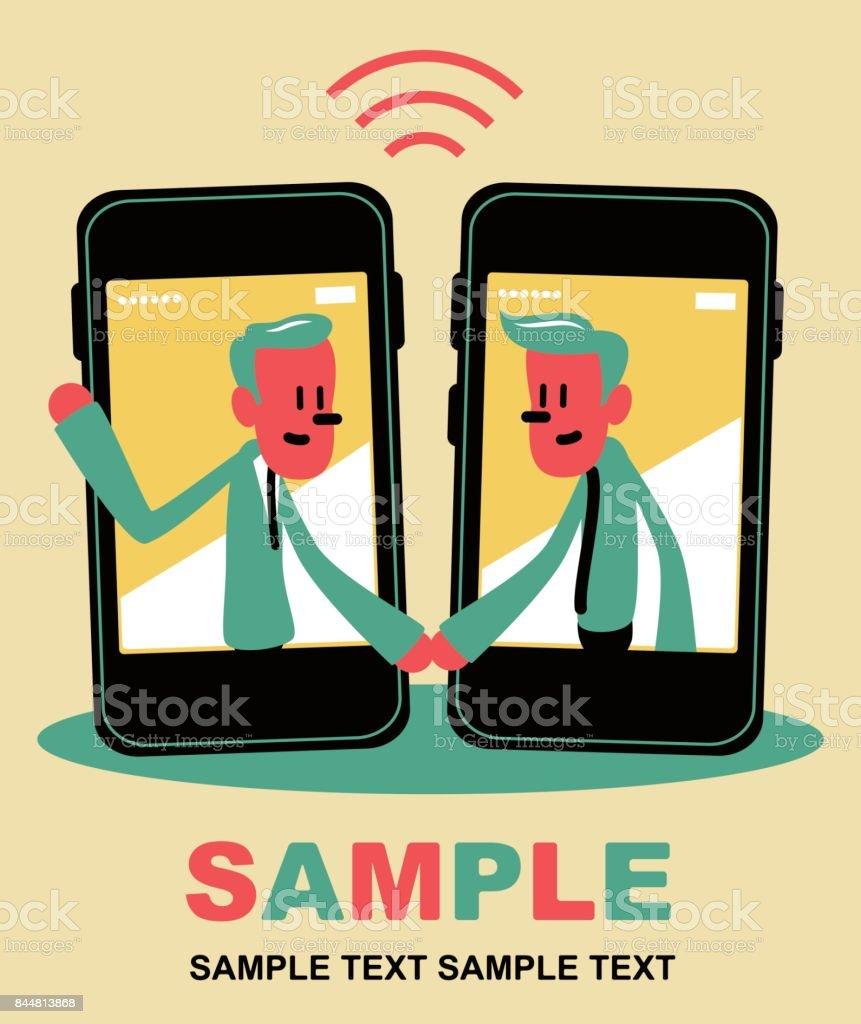 Zwei Lächelnde Geschäftsmann In Ein Smart Phone Mit Einem Handschlag