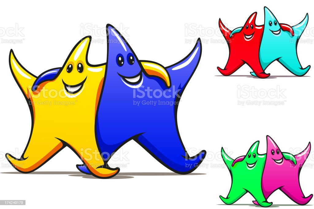 Two smiling friendly stars royalty-free stock vector art