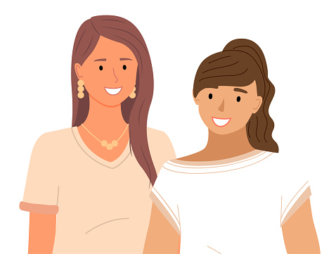 Two smiling women stand together. Group of girls cute girlfriends. Mother and daughter portrait