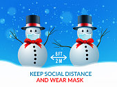 istock two snowmen at a safe distance and wearing medical masks. Vector illustration against the spread of coronavirus 1282536212