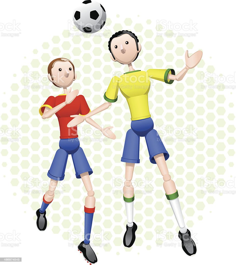 Two soccer players competing royalty-free two soccer players competing stock vector art & more images of athlete