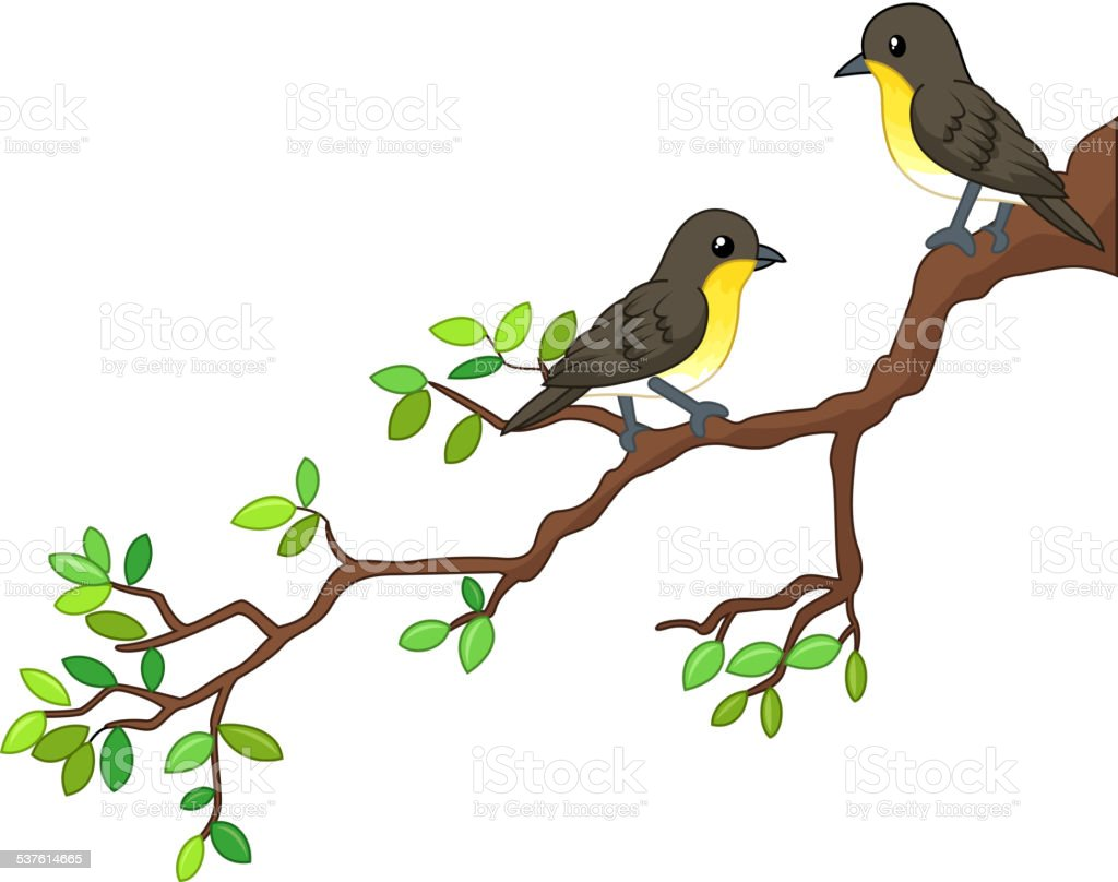 Two Song Birds On Spring Branch Stock Illustration