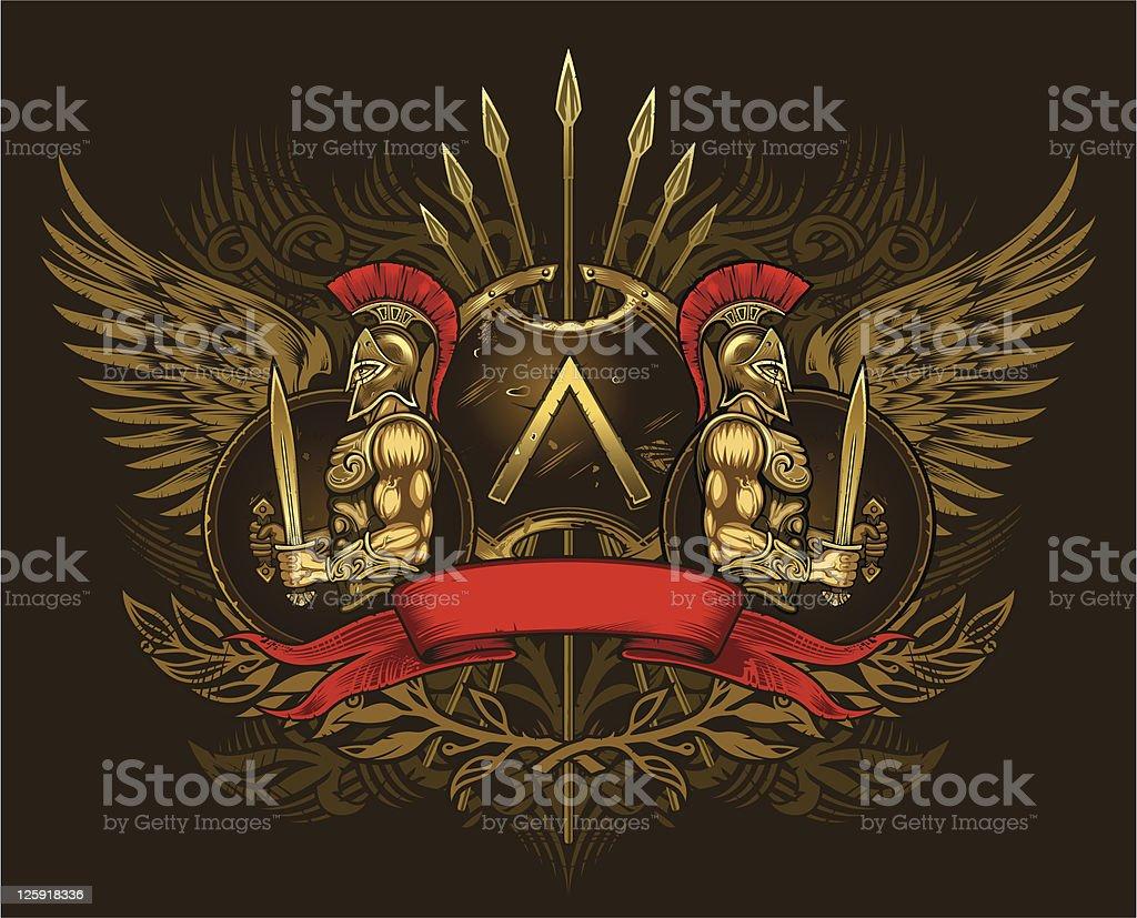 Dois espartanos warriors - ilustração de arte em vetor