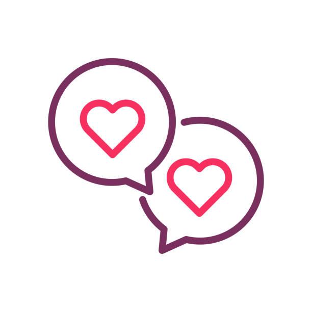 ilustraciones, imágenes clip art, dibujos animados e iconos de stock de dos burbujas de discurso con los corazones. icono de vector línea de moda para romance, amor, día de san valentín, citas online, boda - prometido