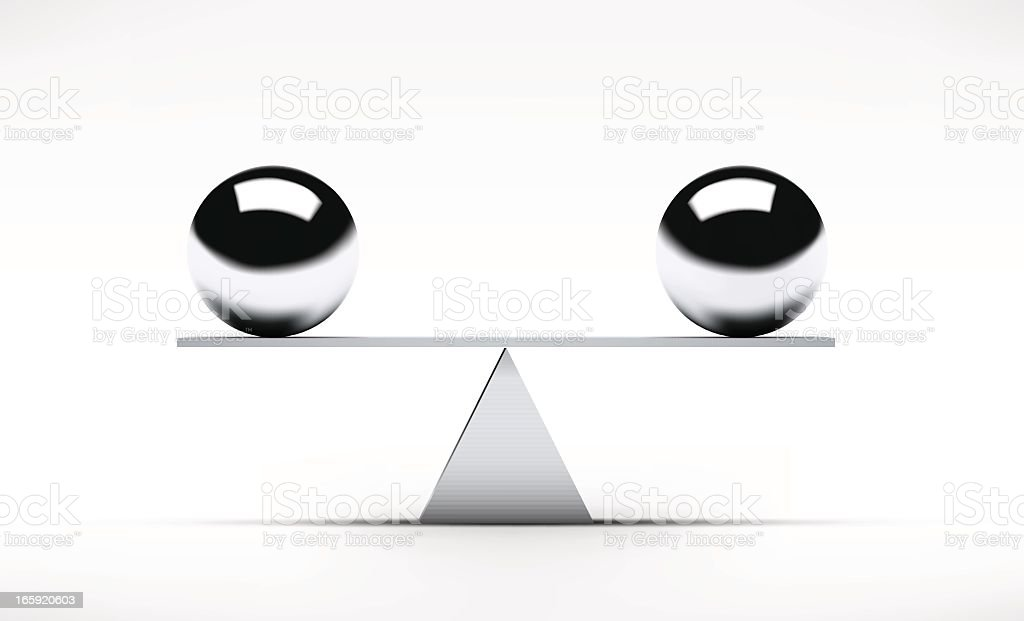 Two spheres balancing on a rudimentary seesaw royalty-free stock vector art