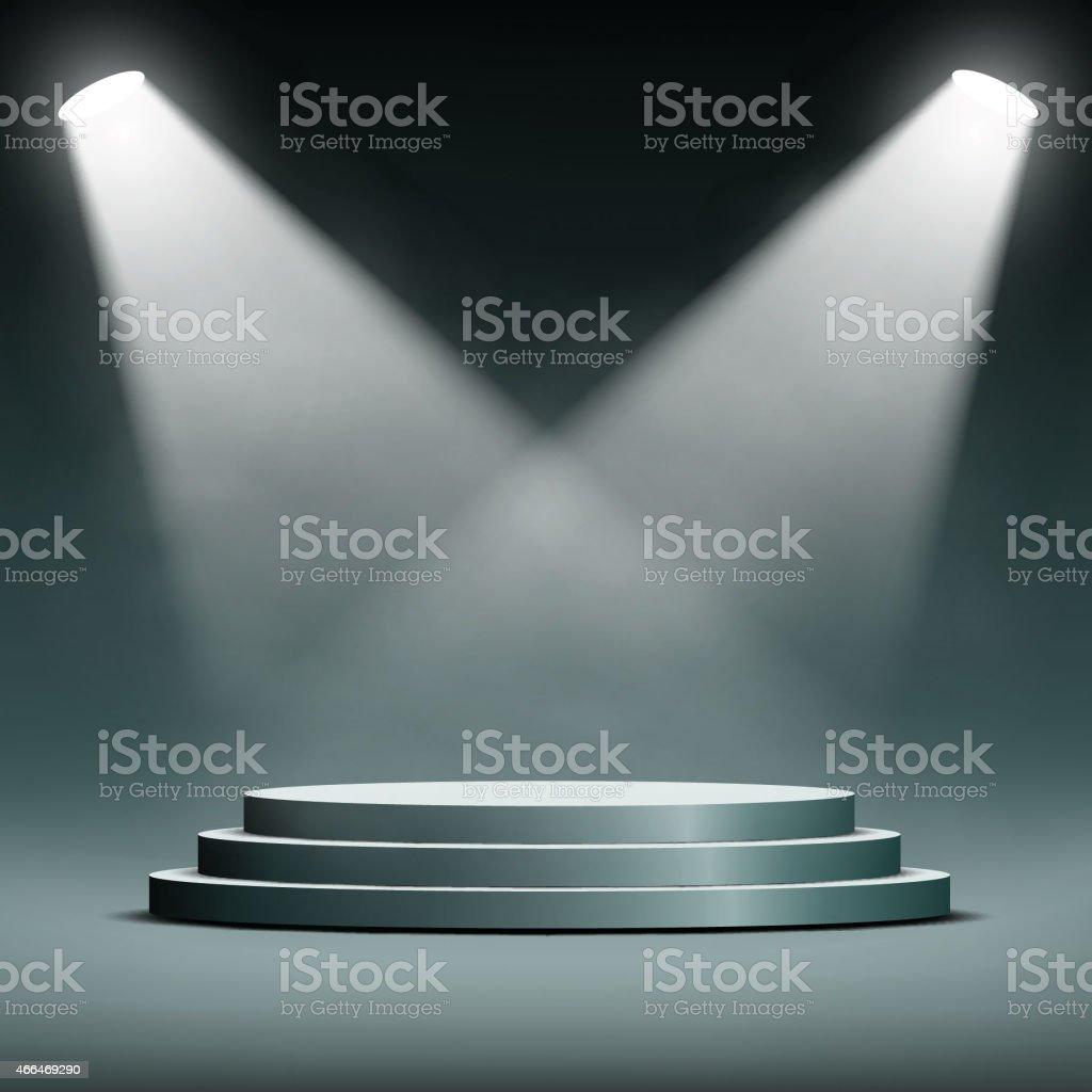 two spotlights illuminate the podium with steps vector art illustration