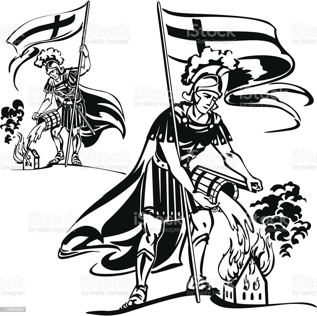 Dos temas St Florian - ilustración de arte vectorial