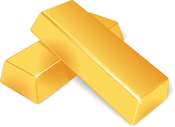 Two stacked up gold bars isolated on a white background Vector illustration of a gold bars. No gradient mesh. The archive consist of  EPS, PDF and hi-resolution JPG format  ingot stock illustrations
