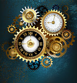Two clock face with gold numbers and metal gears on turquoise background. Steampunk style.