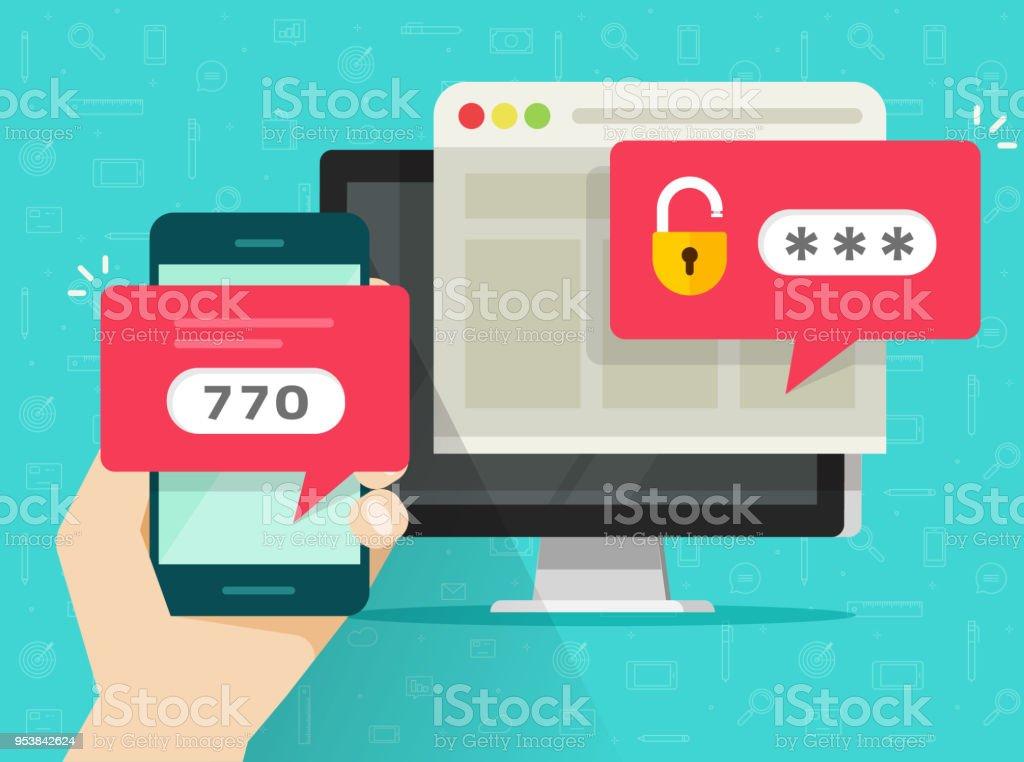 Zweistufigen Authentifizierung-Vektor-Illustration, flache Cartoon Smartphone und Computer Sicherheit Login oder signin, zwei Schritte Verifizierung per Handy auf pc – Vektorgrafik