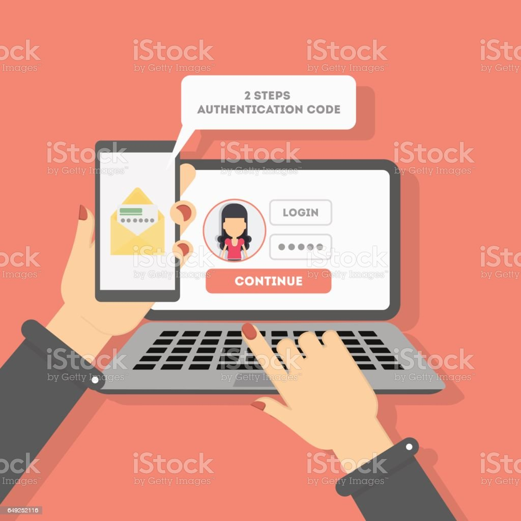 Two steps authentication on computer. vector art illustration