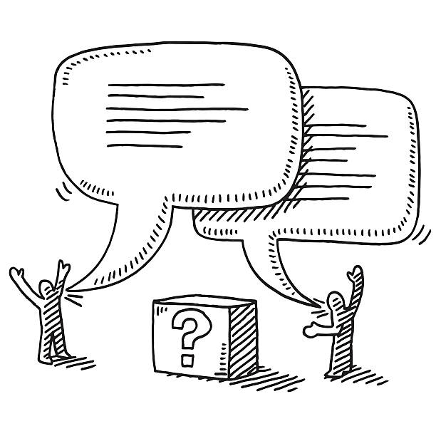 Two Stick Figures Dialogue Question Mark Box Drawing Hand-drawn vector drawing of Two Stick Figures on a Dialogue, in the middle is a mysterious Box with a Question Mark on it. Black-and-White sketch on a transparent background (.eps-file). Included files are EPS (v10) and Hi-Res JPG. business stock illustrations