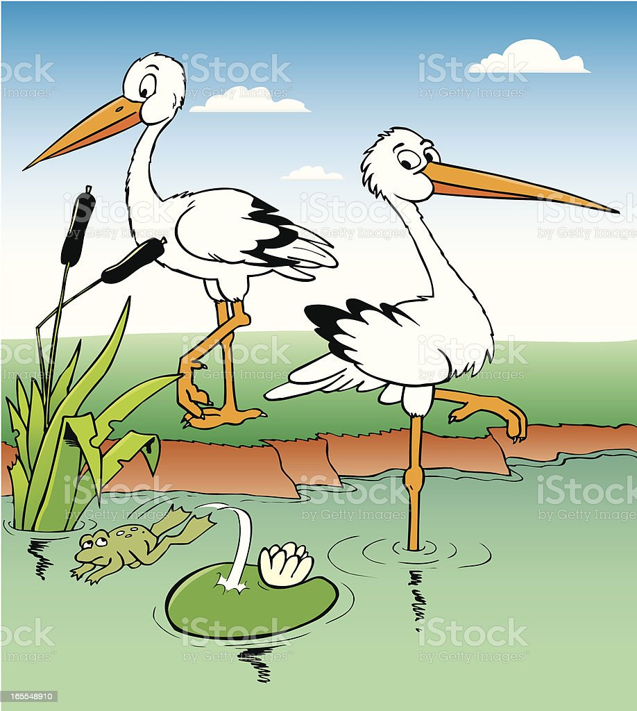 two storks royalty-free stock vector art