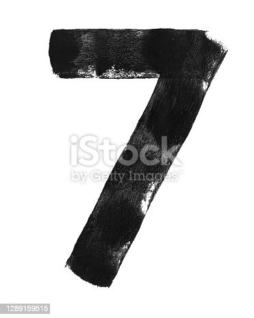 istock Two straight lines connected creating simple shape of number 7 - abstract hand painted modern illustration in vector in grayscale isolated on white paper background with amazing details formed with an uneven paint impression of black paint and roller 1289159515