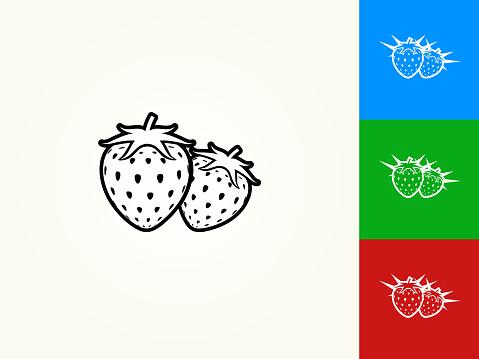 Two Strawberries Black Stroke Linear Icon