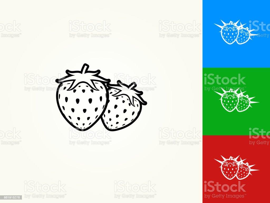 Two Strawberries Black Stroke Linear Icon vector art illustration