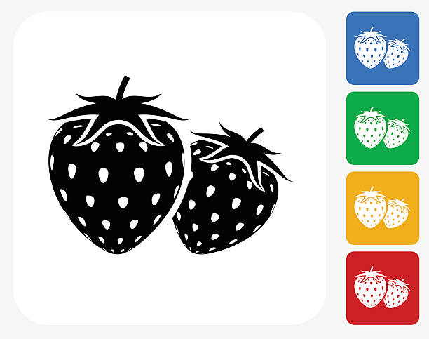 Two Strawberries Icon Flat Graphic Design vector art illustration