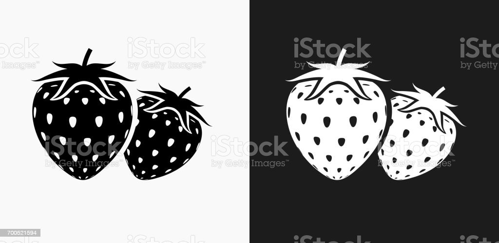 Two Strawberries Icon on Black and White Vector Backgrounds vector art illustration