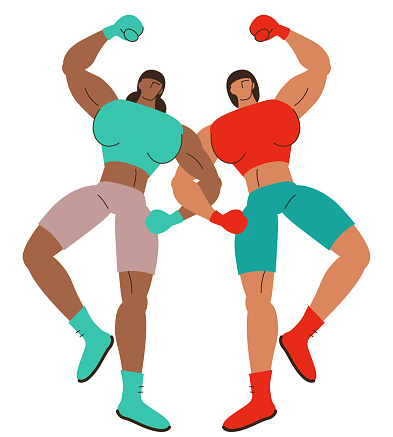 Two strong female boxers dancing arm in arm