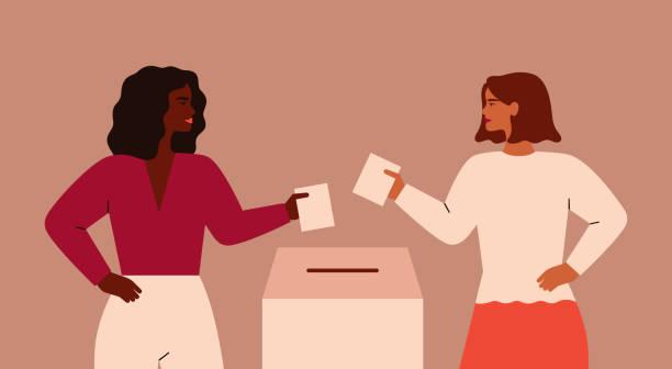 stockillustraties, clipart, cartoons en iconen met twee sterke meisjes zetten papieren stembiljet in de doos. - vote