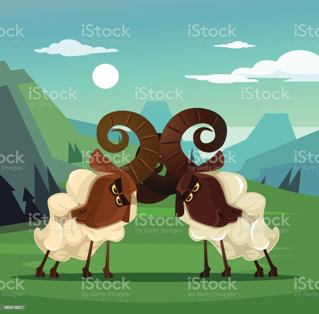 Two stubborn angry ram sheep characters quarreling vector art illustration