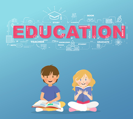 Two Students Read A Book Under Education Text Infographic